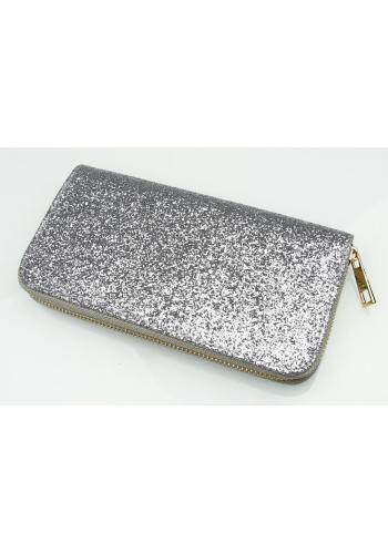 Třpytivá dámská peněženka ve stříbrné barvě