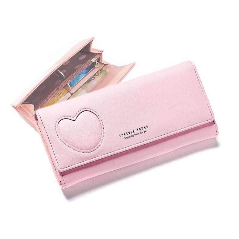 Růžová elegantní peněženka se srdcem pro dámy