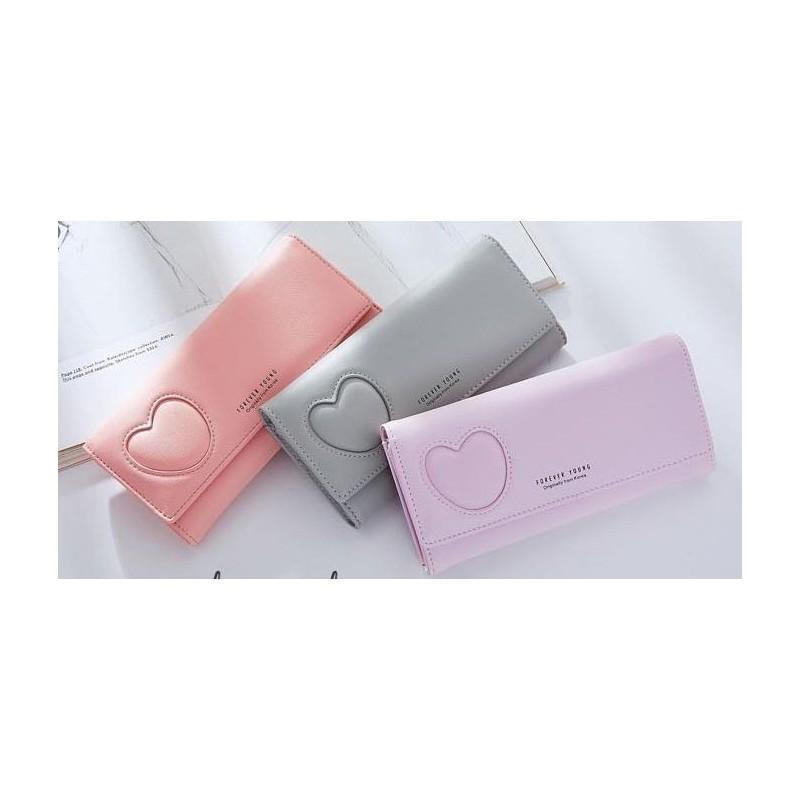 Elegantní dámská peněženka šedé barvy se srdcem