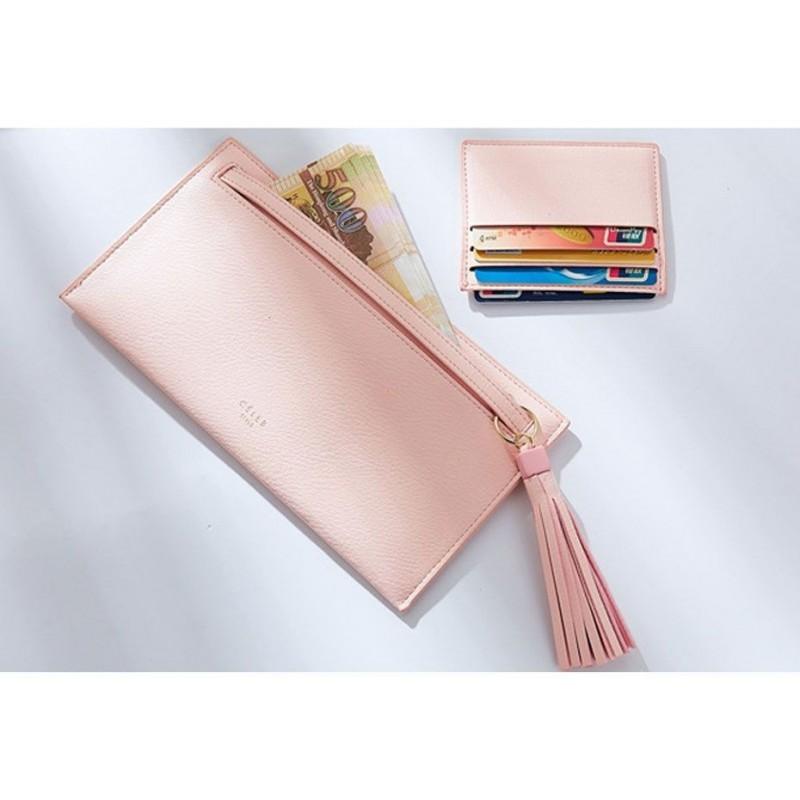 Dámské elegantní peněženky s dekorací v modré barvě