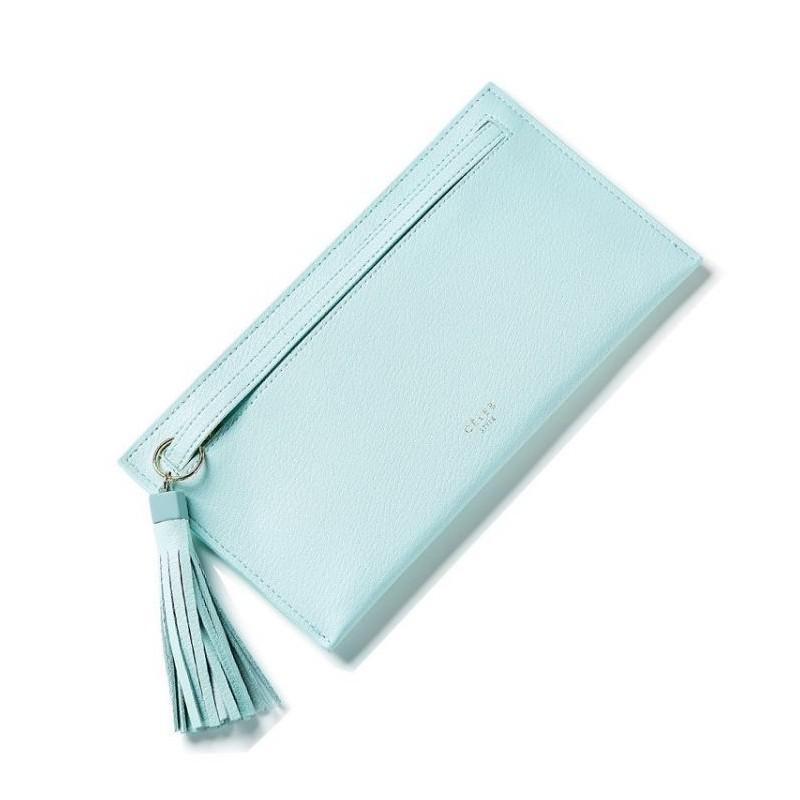Listová dámská peněženka mátové barvy s třásněmi