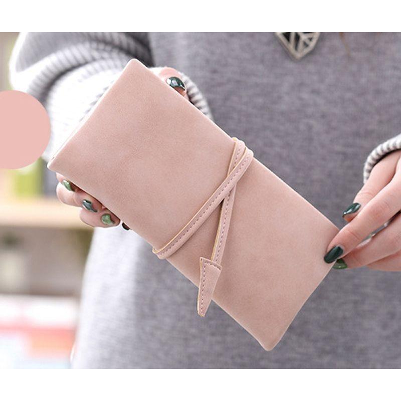 Růžová peněženka s vázáním pro dámy