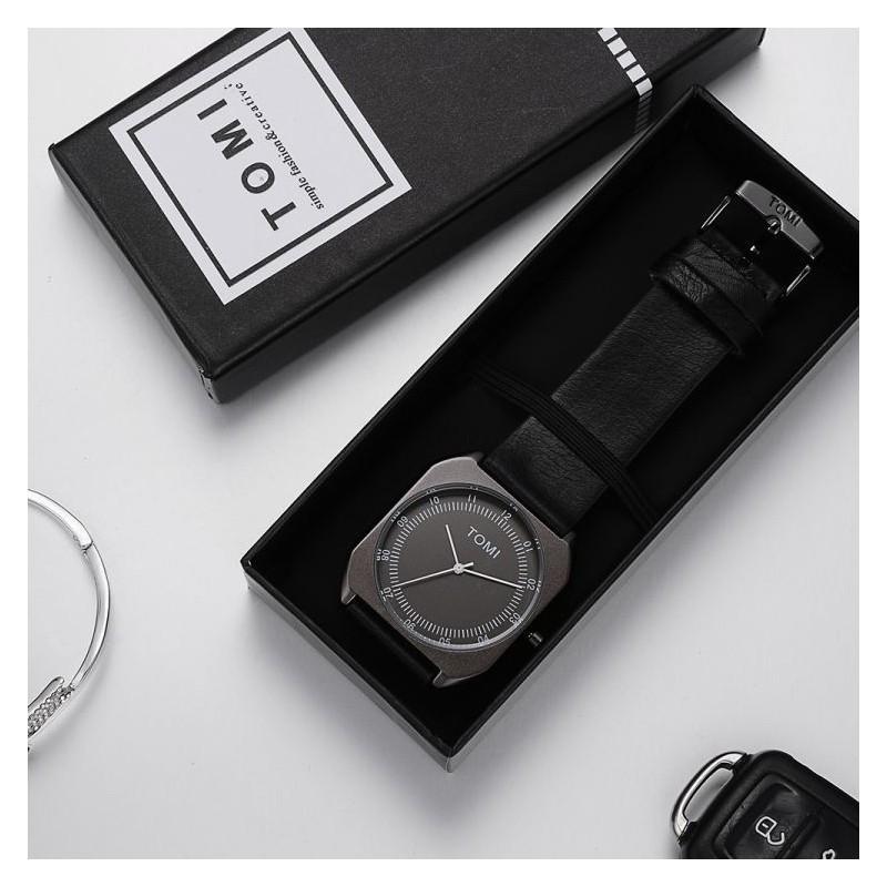 Hnědé stylové hodinky s tmavě modrým ciferníkem pro pány