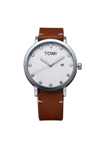 Hnědé módní hodinky Tomi s černým ciferníkem pro pány