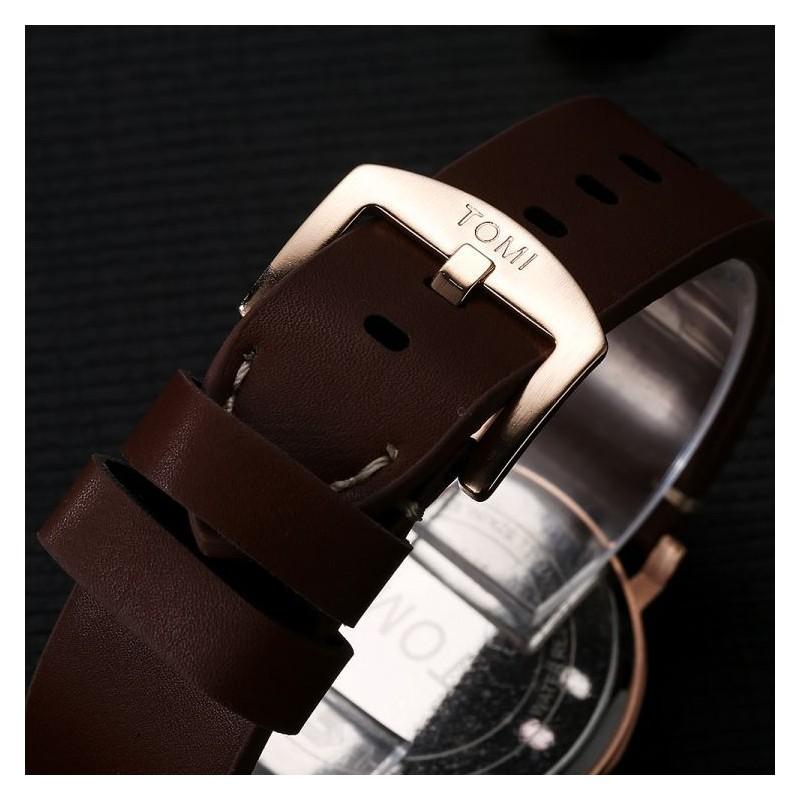 Módní pánské hodinky Tomi hnědé barvy s bílým ciferníkem