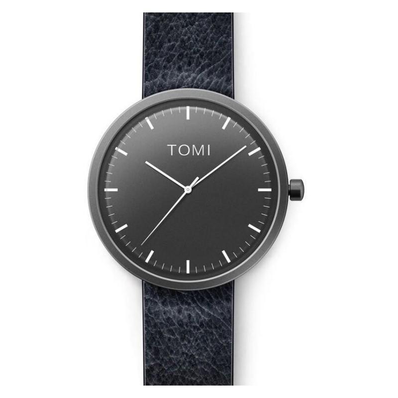 Hodinky Tomi pro pány černé barvy s černým ciferníkem
