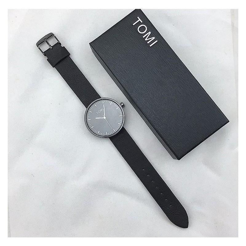 Černé hodinky Tomi s bílým ciferníkem pro pány