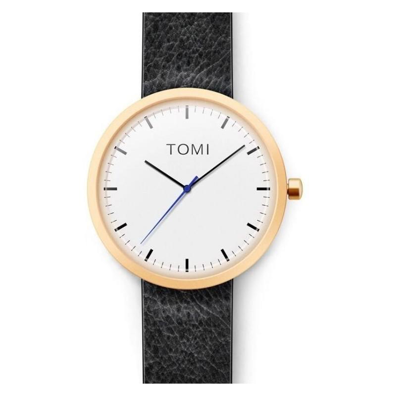 Hodinky Tomi pro pány černé barvy s bílým ciferníkem
