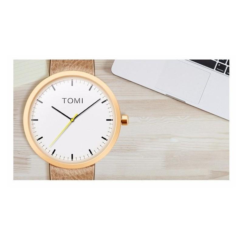 Pánské hodinky Tomi s bílým ciferníkem v černé barvě