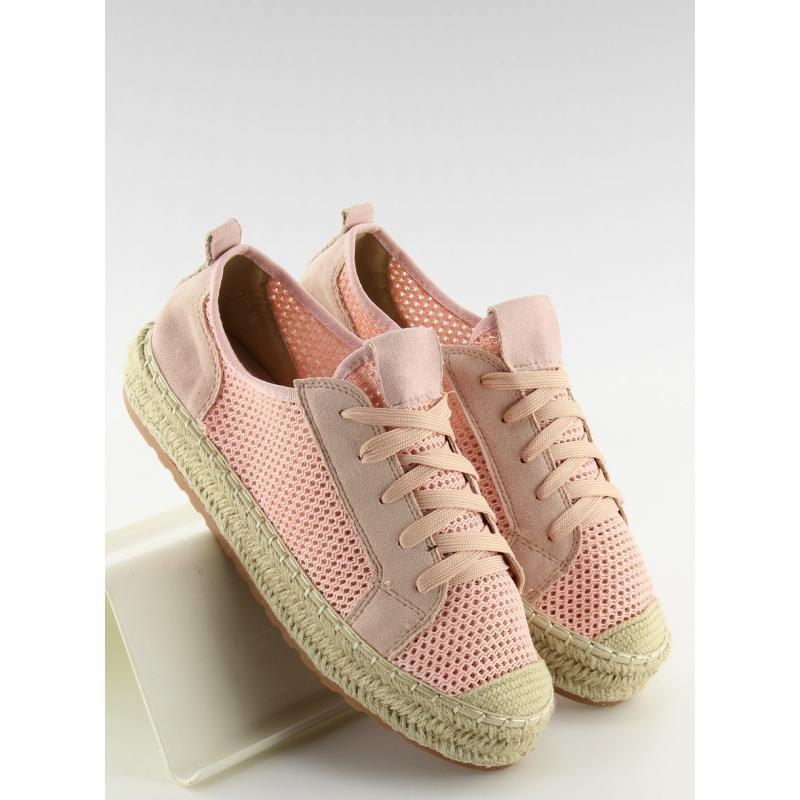 2dc0141bcc Módní dámské tenisky růžové barvy na vysoké lněné podrážce ...