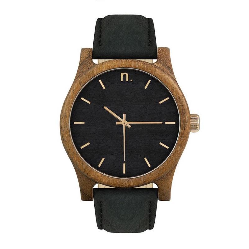 Dřevěné pánské hodinky černé barvy s koženým páskem - dokonalamoda.cz a9075612a47