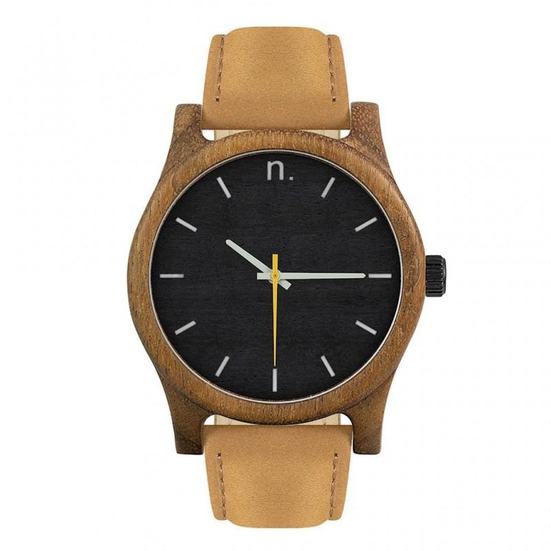 Šedé dřevěné hodinky s koženým řemínkem pro pány