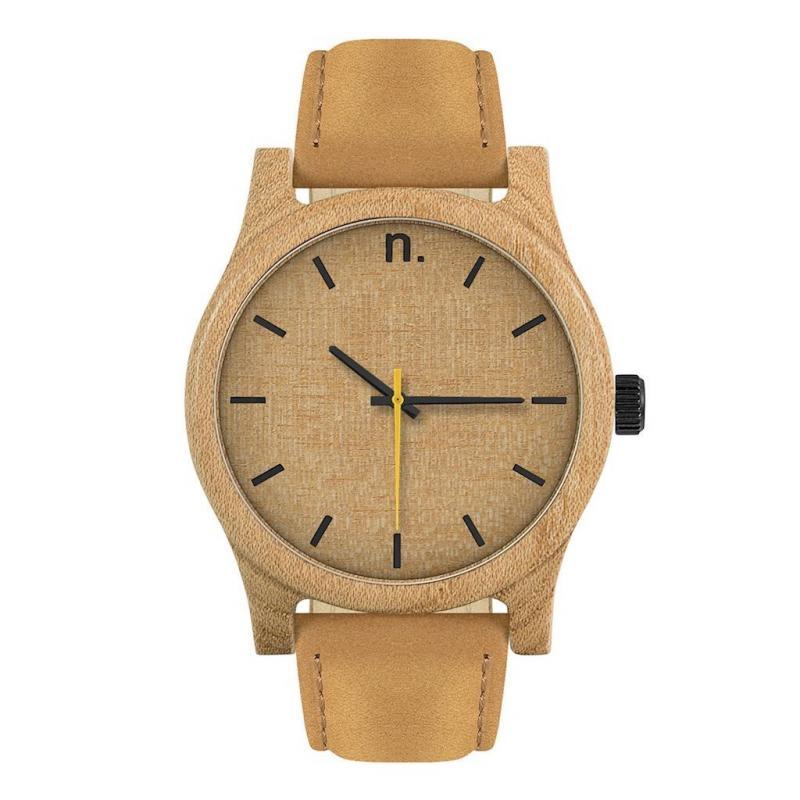 8333007e1 Pánské dřevěné hodinky s koženým páskem v hnědé barvě - dokonalamoda.cz