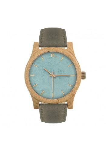 Šedo-olivové dřevěné hodinky s koženým řemínkem pro pány