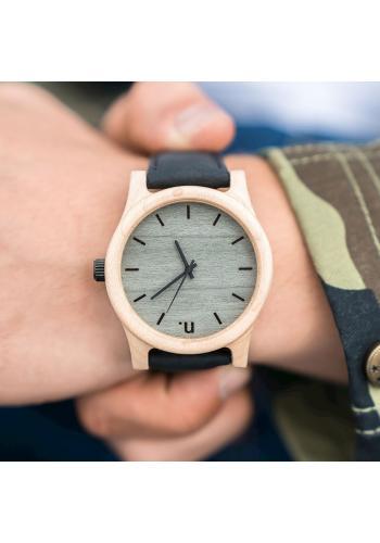 Dřevěné pánské hodinky béžovo-bordové barvy s koženým řemínkem