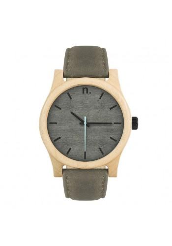 Pánské dřevěné hodinky s koženým páskem v černo-olivové barvě