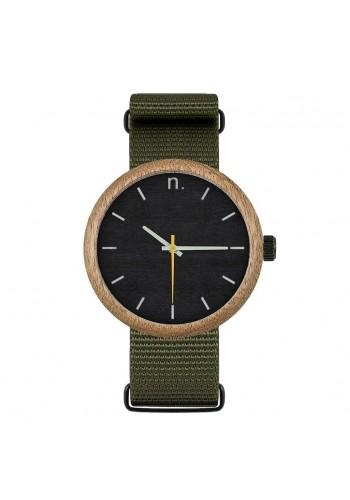 Zelené dřevěné hodinky s textilním řemínkem pro pány