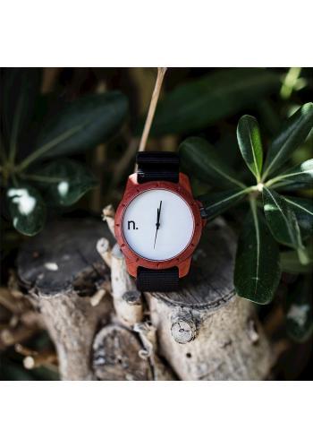 Černé dřevěné hodinky s textilním řemínkem pro pány