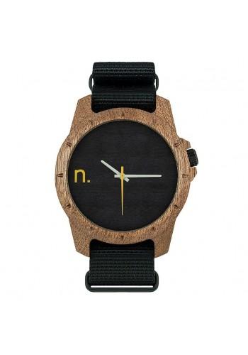 Pánské dřevěné hodinky s textilním řemínkem v černo-bílé barvě