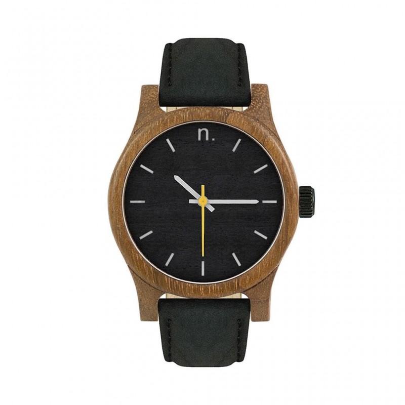 Béžovo-černé dřevěné hodinky s koženým řemínkem pro dámy