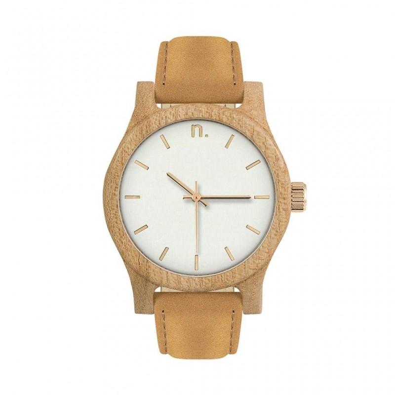 Dámské dřevěné hodinky s koženým páskem v béžovo-modré barvě