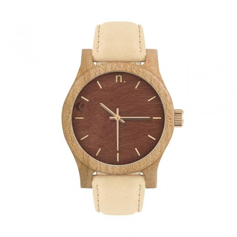 Béžovo-zelené dřevěné hodinky s koženým řemínkem pro dámy
