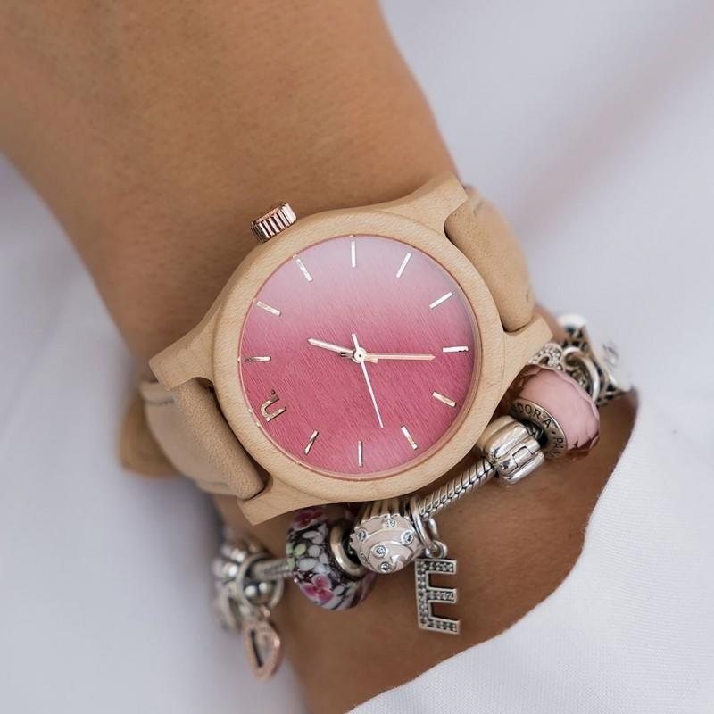 Hnědo-fialové dřevěné hodinky s koženým řemínkem pro dámy