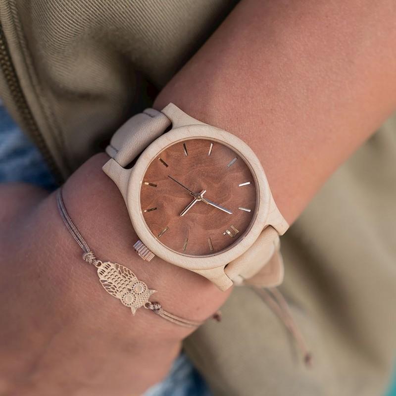 Hnědo-olivové dřevěné hodinky s koženým řemínkem pro dámy