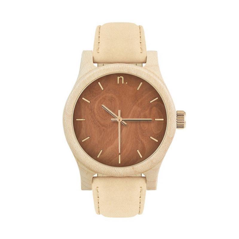 Dřevěné dámské hodinky béžovo-hnědé barvy s koženým řemínkem ... 03ce4f0d71b