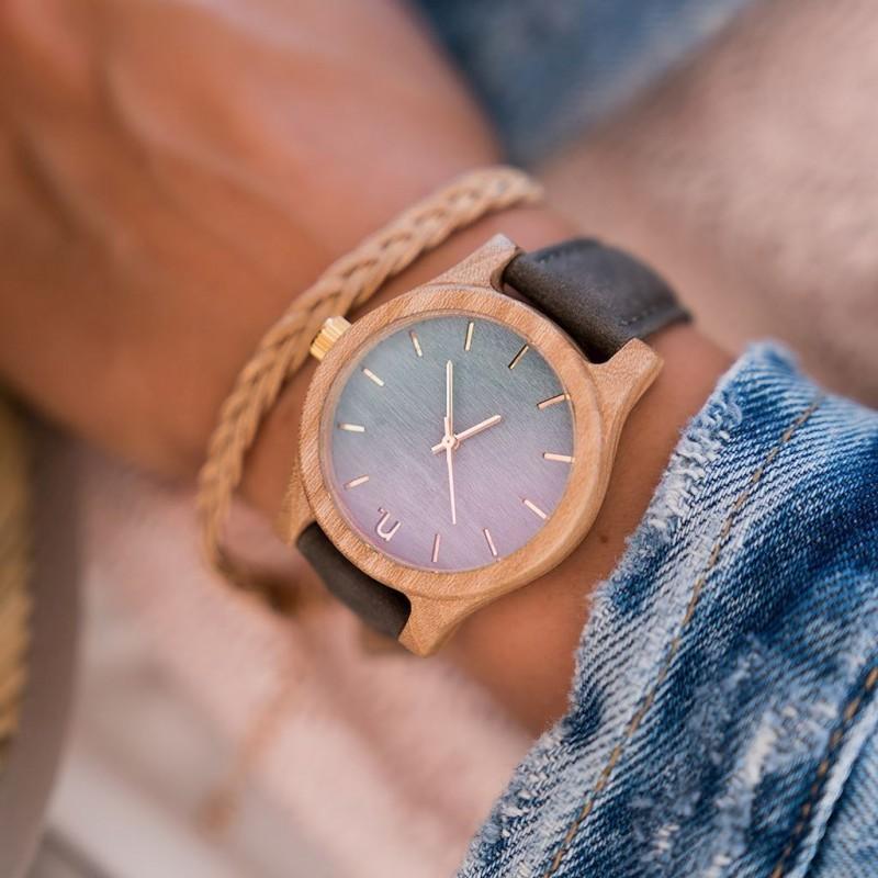 Dámské dřevěné hodinky s koženým páskem v béžovo-růžové barvě