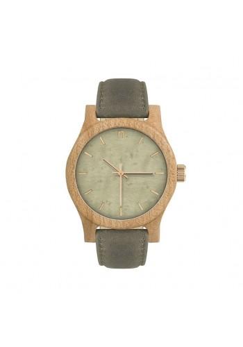 Dámské dřevěné hodinky s koženým páskem v šedo-modré barvě