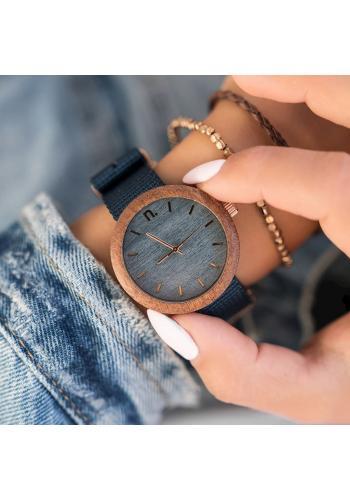 Dámské dřevěné hodinky s textilním řemínkem v hnědé barvě