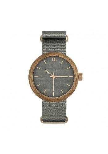 Modré dřevěné hodinky s textilním řemínkem pro dámy