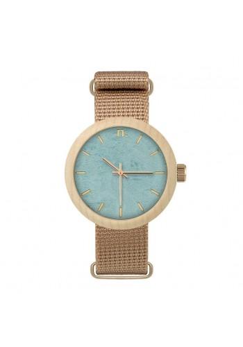 Dámské dřevěné hodinky s textilním řemínkem v zelené barvě