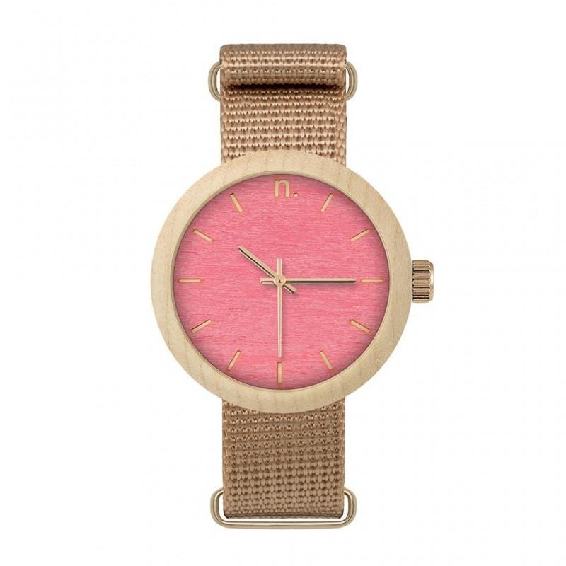 Béžovo-modré dřevěné hodinky s textilním řemínkem pro dámy