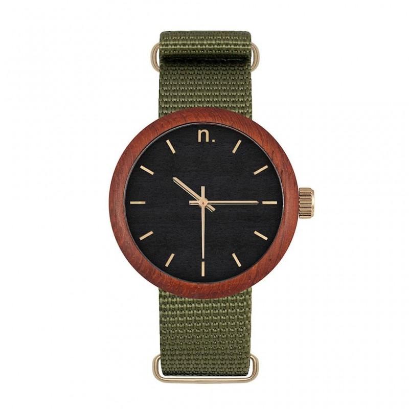Dámské dřevěné hodinky s textilním řemínkem v béžovo-fialové barvě