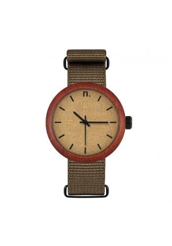 Dřevěné dámské hodinky zeleno-černé barvy s textilním řemínkem