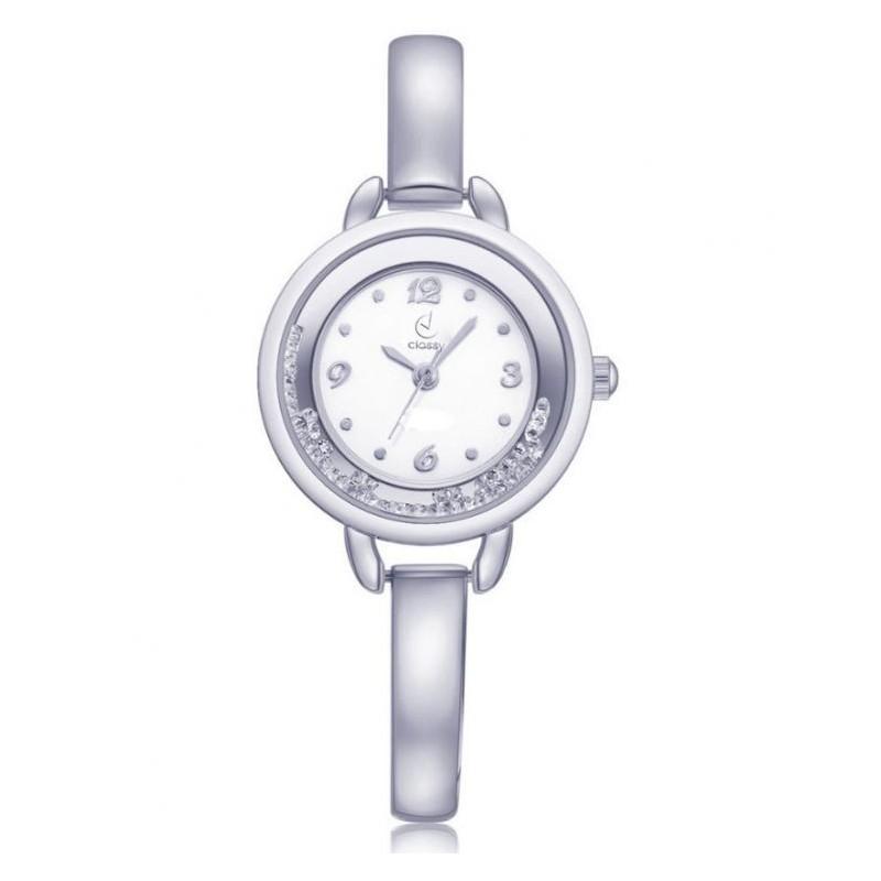 Dámské elegantní hodinky stříbrné barvy s bílým ciferníkem