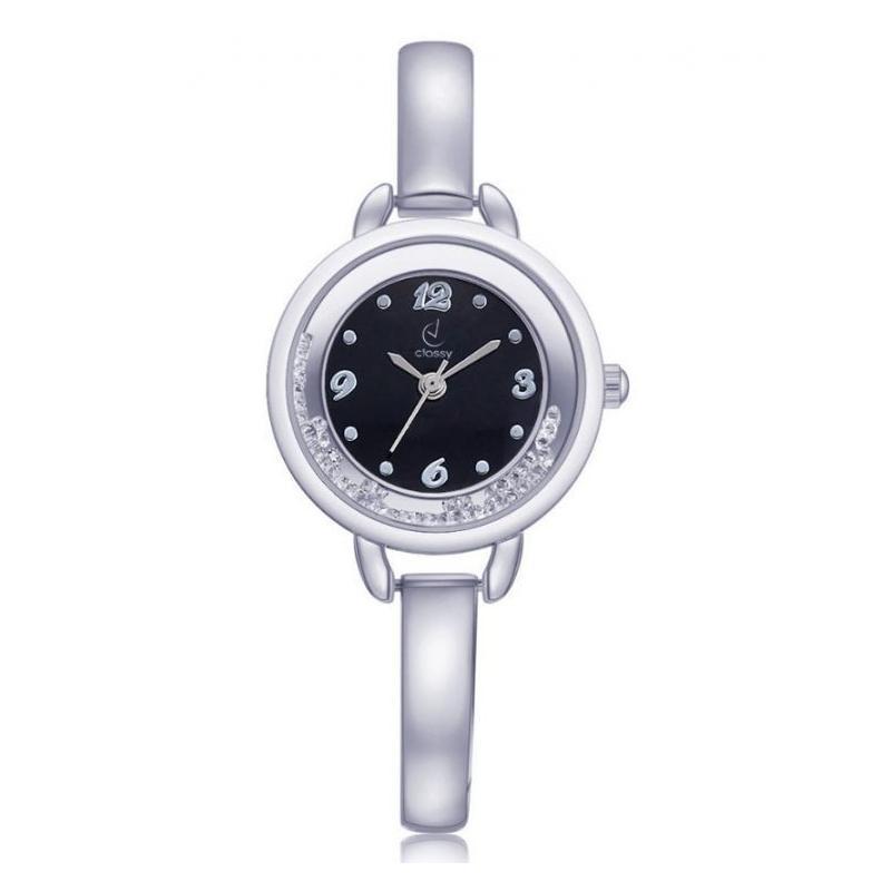 a3525d2e0 Elegantní dámské hodinky stříbrné barvy s černým ciferníkem. Stříbrné  elegantní hodinky s bílým ciferníkem pro dámy