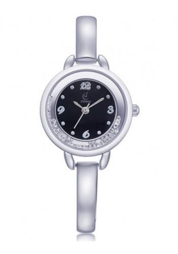 Stříbrné elegantní hodinky s bílým ciferníkem pro dámy