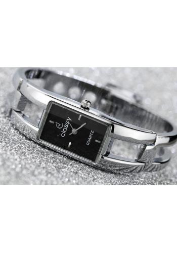 Elegantní dámské hodinky stříbrné barvy s černým ciferníkem