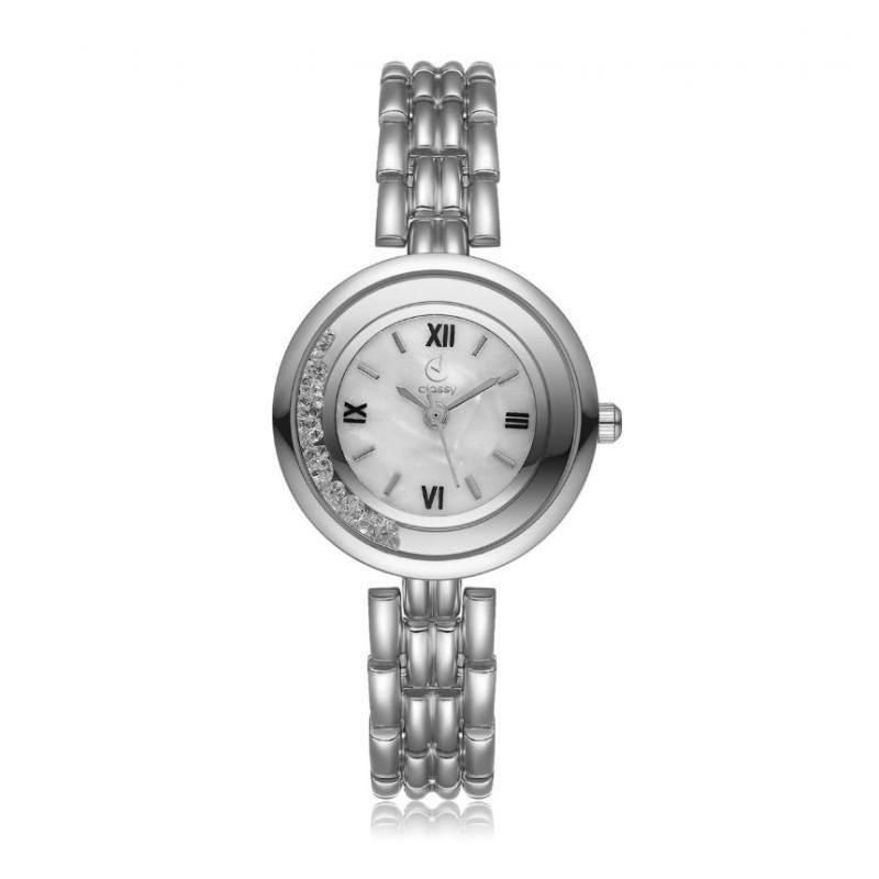 Elegantní dámské hodinky stříbrné barvy s bílým ciferníkem
