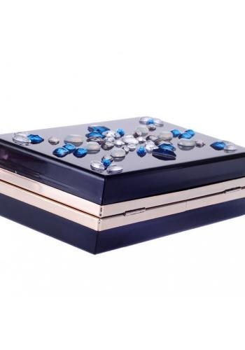 Společenská kabelka s krystaly pro dámy tmavě modré barvy