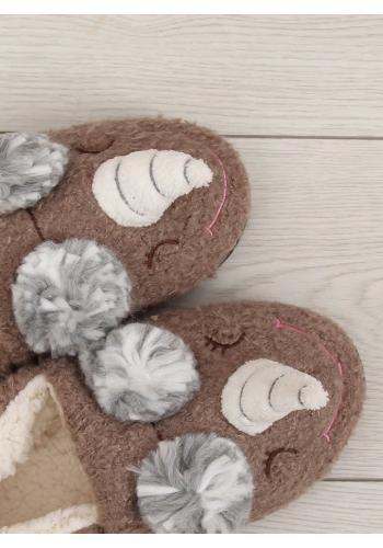 Plyšové dámské pantofle béžové barvy s rohem a ušima