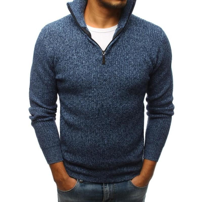 Módní pánský svetr černé barvy s výstřihem na zip