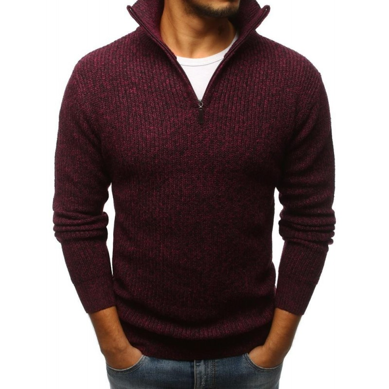 Modrý módní svetr s výstřihem na zip pro pány
