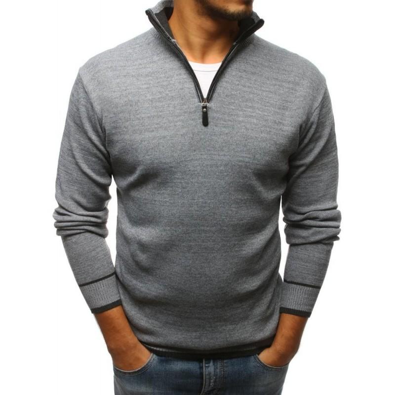 Tmavě šedý stylový svetr s výstřihem na zip pro pány