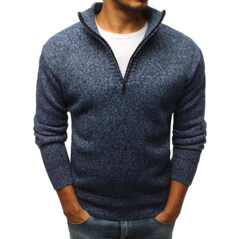 Modrý módní svetr s výstřihem na zip pro pány - dokonalamoda.cz 02b5d0dc99