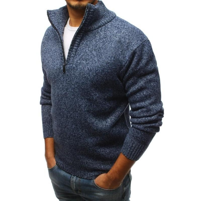 Módní pánský svetr tmavě modré barvy s výstřihem na zip