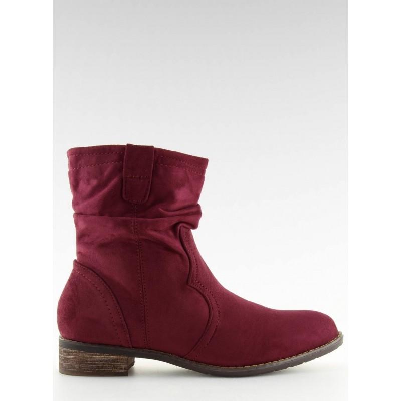 Dámské semišové boty s nařasením v hnědé barvě